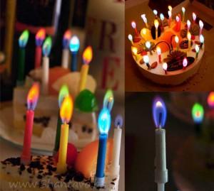 свещи с цветен пламък