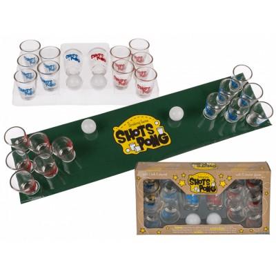 Игра с шот понг (Shots Pong) с игрално поле и стъклени чаши