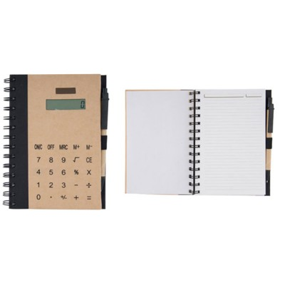 Тетрадка бележник с вграден калкулатор на слънчеви батерии и химикал