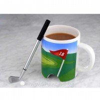 Чаша за кафе и игра на голф с топче и стик (химикал)