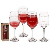 Чаша за вино с 3 нива на наливане - Good day, Bad day, Don't even ask