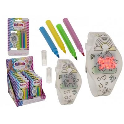 Ръчен детски часовник за оцветяване с флумастери