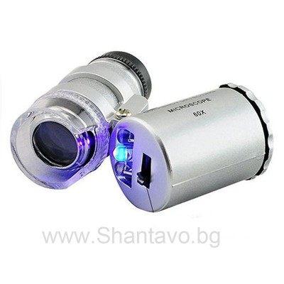 Джобен микроскоп с увеличение х 60 пъти