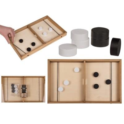 Настолна дървена игра за двама. Отбележи гол с ластик и пулчета (шайби)