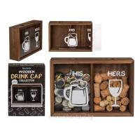 Дървена кутия за капачки от бира и вино