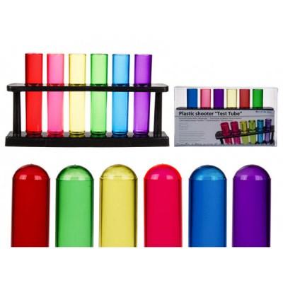 Цветни шотове епруветки със стойка - 6 броя