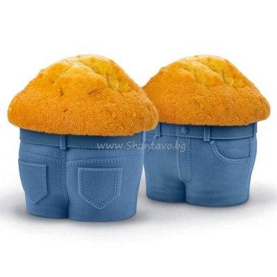 Весела силиконова форма за мъфини - сини панталонки (джинси)