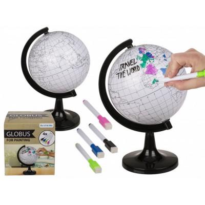 Глобус за оцветяване с поставка и 4 маркера