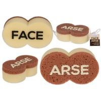 Гъба за баня с надпис FASE/ ARSE от двете страни - шега за баня