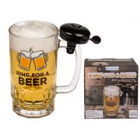 Стъклена халба за бира със звънец