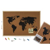 Карта на света от корк в рамка