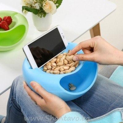 Удобна купичка за ядки и семки с поставка за телефон(таблет)