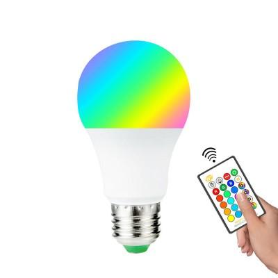 Мощна LED крушка (10W) с дистанционно управление и различни светлини - Е27