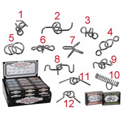 Метални логически пъзели в малка кутия - различни варианти