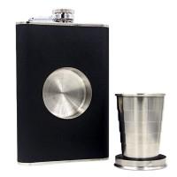 Стилна и компактна манерка (фласка) със скрита чаша за ценители - 240 мл