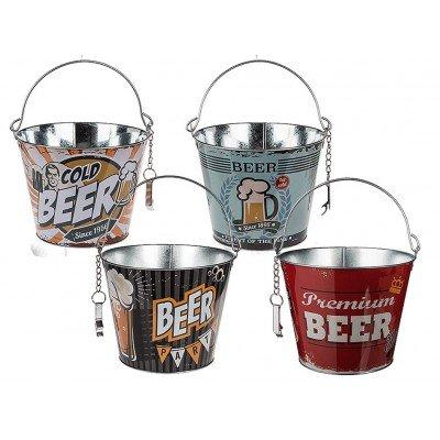 Метална парти кофа за изстудяване на бира, с отварачка - 4 варианта