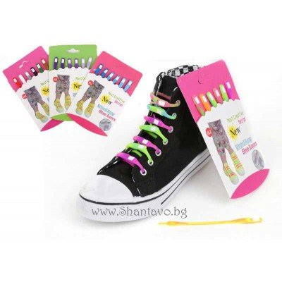 Забавни цветни връзки за обувки от силикон - 6 бр