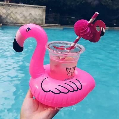 Надуваема поставка за кенчета и чаши - фламинго
