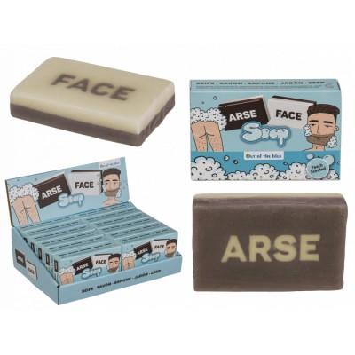 Сапун  с надпис FACE / ARSE от двете страни - шега за баня