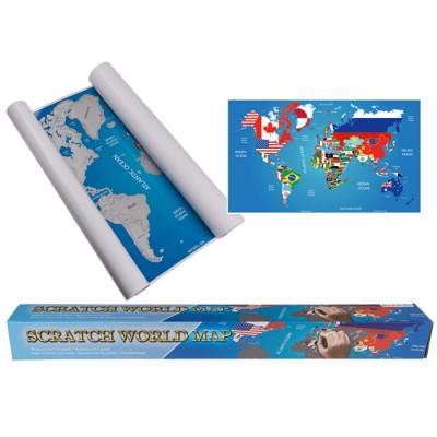 Скреч карта на света със знамената на всички държави