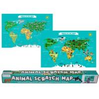 Детска, образователна скреч карта на света с животни