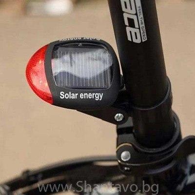 Соларен LED стоп за велосипед с 3 режима на мигане