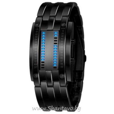 Стоманен LED часовник - верига