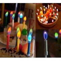 Свещички за торта с различни цветове на пламъка