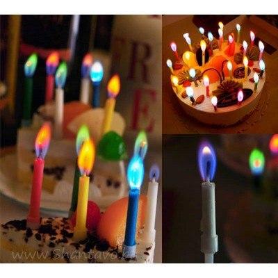Свещички за торта с различни цветове на пламъка - 6 бр