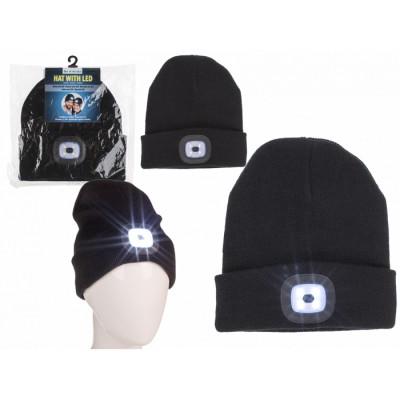 Зимна унисекс шапка с вграден фенер